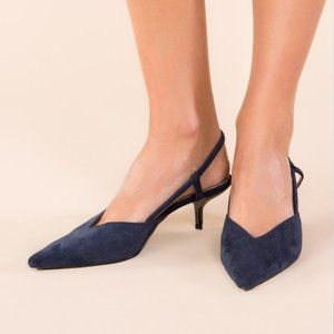 NEW Navy Blue Suede Pointy Toe Kitten Heel Shoes